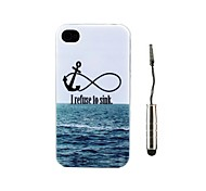 Sea Landscape Design TPU Soft Case en Stylus voor iPhone 4/4S