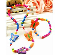 Corea Girls Colors Butterfly  Necklace Bracelets Twinset