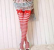 Linda chica rayas rojas y el arco Nylon Sweet Lolita Medias
