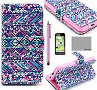 Коко FUN ® Дело фиолетовый узор Племенной ковров искусственная кожа всего тела с экрана протектор, Stylus и подставка для iPhone 5C