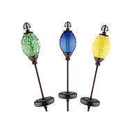 Luxo Stainless Steel Color Changing LED Solar Jardim Luz com Stalinite Shade, Conjunto de 3