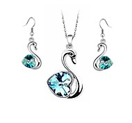 Classic (Crystal Little Swan) Platinum Plated Jewelry Set (Light Blue Dark Blue Purple and Green)