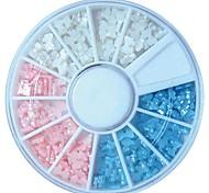 180pcs tricolor bowtie minúsculo rueda perla uña arte decoración