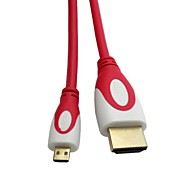 HDMI Cable Micro HDMI Male to HDMI Male Gold-Plated V1.4 Red and White