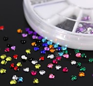 600PCS 12Colours Sweet Heart Shape Acrylic Rhinestones Wheel Nail Art Decoration