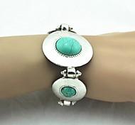 Toonykelly ® Vintage 18 cm de la Mujer de plata antiguo de la turquesa pulsera (verde) (1 PC)