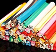 50PCS Animal Pattern 3D Cane Stick Rod Sticker Random Color Nail Art Decoration