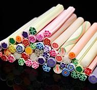 50PCS Flower Pattern 3D Cane Stick Rod Sticker Random Color Nail Art Decoration