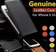 véritable cuir flip cas complète du corps pour iphone 5 / 5s (de couleurs assorties)