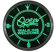 OPEN Walk Ins Welcome Barber Beauty Salon Neon Sign LED Wall Clock