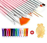 28PCS Acrylic Painting Nail Art Suit(12 Color Nail Art Paints 15PCS Nail Art Brush 1 Random Color Palette)
