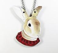 padrão de coelho colar de madeira