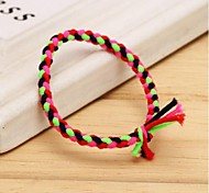 4Colors Mix Hand-woven Fluorescent Color Elastic Hair Ties