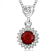 Fashion Style 925 Sterling Silver Jewelry Sunflower with Red Zircon Pendant Necklace for Women