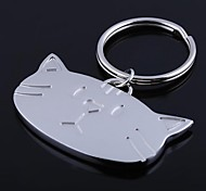 The Cat Shape Metal Silver Keychain Toys