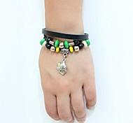 Unisex's Gladiator Shield Vintage Beads Leather Braided Bracelets