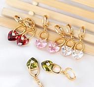 novo ouro 18k das mulheres banhado venda quente forma de coração de moda zircão brincos longos er0270