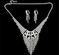 Silver- Plated Diamond-Studded Earrings & Necklace Set For Noble Ladies (1 Set)(C)