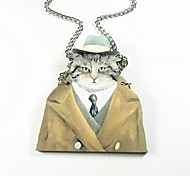 Cat Pattern Wood Necklace