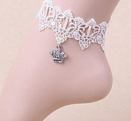 Lureme®Retro Lace Crown Crystal Anklet\