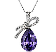 Dara® Vantige (Water Drop Pendant) Silver Platinum-Plated Pendant Necklace(Blue and Purple) (1 Pc)