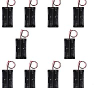 CM01 DIY 2-18650 Battery Holder Cases / Boxes w/ Line - Black (10 PCS)