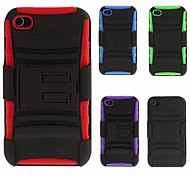Rotatable Hybrid Armor Case with Stand, TPU Back Cover and Clip for iPhone 4/4S (Optional Colors)