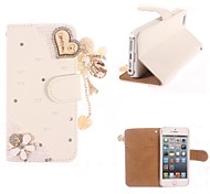 Rhinestone Handmade Bling Heart-Shaped Design Leather Case for iPhone 4/4S