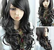 el pelo largo y rizado negro nuevo papel que juega las mujeres de moda las pelucas