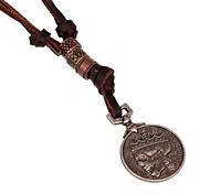 classic (moeda) marrom de couro pingente de colar (1 pc)