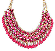 Eourpean Style Multilayer Resin Tassel Statement Necklace