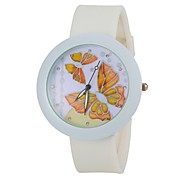Women's Fashion Colorful Butterfly Round Dial White Silicone Band Wrist Watch