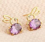 Women's 18K Gold Plated Set Zircon Crystal Rabbit Earrings