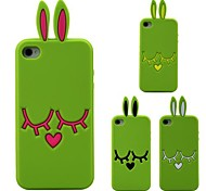 3D Green Rabbit Ear Pattern Silicon Rubber Case for iPhone 4/4s(Assorted Colors)