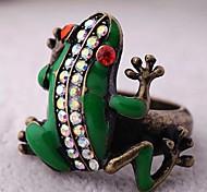 lureme®vintage alliage de bague en cristal petite grenouille (de couleurs assorties)