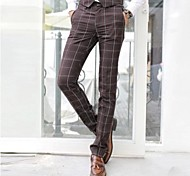Men's Fashion Formal Long Check Suit Pants
