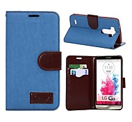 Jeans Leather Folio Wallet Case for LG G3 -Denim light Blue