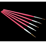 5PCS Rose Red Nail Art Painting Drawing Pen Brush Kits