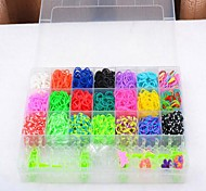 2100pcs Rubber Bands Rainbow Color Loom Style with 4 Package Clips,1 Looms ,6 Hook+1Box
