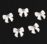 10pcs White 3D Alloy Bowknot Nail Art Decoration
