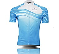 XINTOWN Men 's Sea Breathable Polyester Short Sleeve Cycling Jersey -Blue+White
