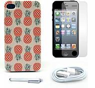 caso duro del patrón de la piña y el protector de pantalla y lápiz óptico y el cable para el iphone 4 / 4s