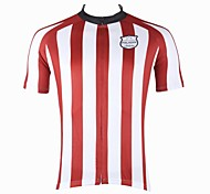 PaladinSport Men's Red and White Stripes Spring and Summer Style 100% Polyester Red Short Sleeved Cycling Jersey