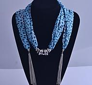 Lureme®Blue Leopard Print Scarf Tassel  Necklace