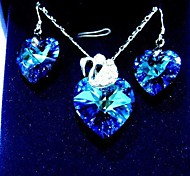 Fashion Dark Blue Crystal (Includes Necklace&Earrings) Jewelry Set