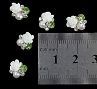 10pcs   White 3D Rose Flower  Pearl Rhinestone DIY Accessories Nail Art Decoration