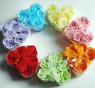 6 românticos rosa sabão flores em forma de coração (cor aleatória)