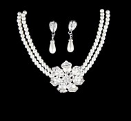 Women's Pearl Alloy Necklace Earrings  Set