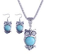 Lureme®Turkey Blue Tophus  Diamond Cute Owl Pendant Necklaces and Earring Suit
