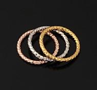 u7® nouveaux anneaux ronds triples 3 couleurs jaune or rose 18 platine plaqué or anneaux de bande pour les femmes